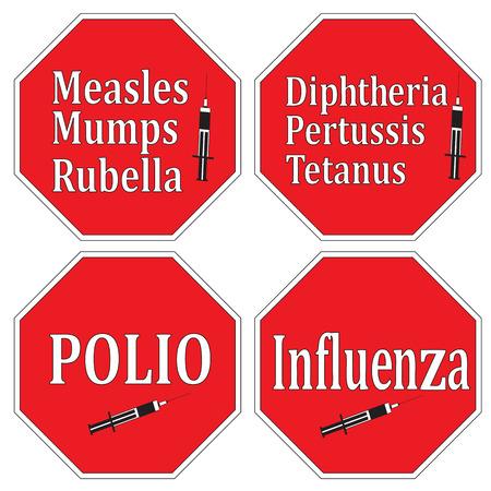 mumps: Deja de enfermedades infecciosas a trav�s de la vacunaci�n y la inmunizaci�n, conjunto de signos como concepto de salud Vectores
