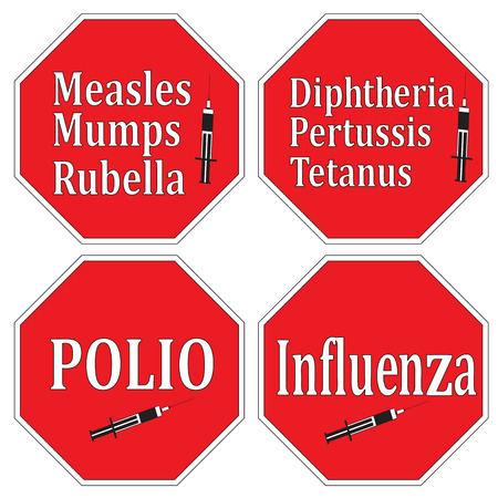 Stop infectious diseases through vaccination and immunization, set of signs as health concept Stock Vector - 22560678