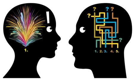 Mannelijke en Vrouwelijke Logica Mannen en vrouwen denken, waarnemen en beslissen op verschillende manieren Stockfoto