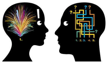 logica: Masculino y Femenino Lógica hombres y las mujeres piensan, perciben y decidir de manera diferente Foto de archivo