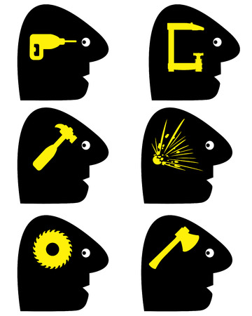 cephalgia: Headache Symbols  Set of conceptual vector signs for a variety of pain  Illustration