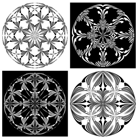 Set of Rose Windows  Holy Cross symbols derived from ancient motifs in vector art which allows you to choose your own color   combination perfect for Chrismas decoration Vector