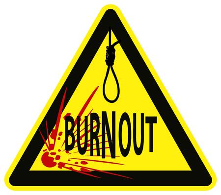 burn out: Voorzichtigheid Job Burnout syndroom kan leiden tot zelfmoord Stock Illustratie
