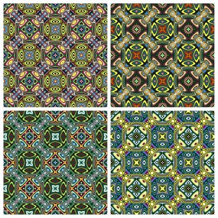 Modern Design textile indienne avec des symboles spirituels, un modèle avec 4 différentes combinaisons de couleurs qui vous permet de faire de nombreuses variétés sans soudure