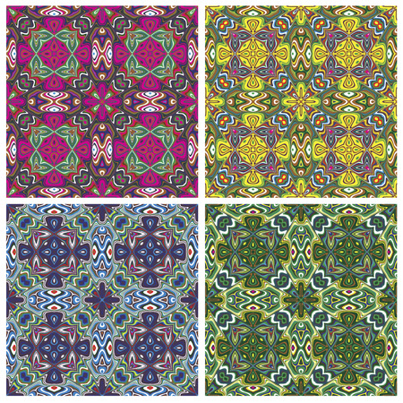 mayas: Modern Indian Textile Design with spiritual symbols, one pattern with 4 different color combinations which allows you to make numerous seamless varieties