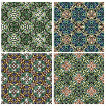 Modern Design textile indienne avec des symboles spirituels, un modèle avec 4 différentes combinaisons de couleurs qui vous permet de faire de nombreuses variétés sans soudure Vecteurs