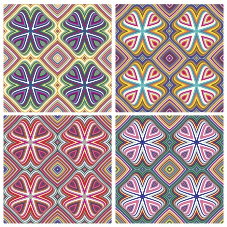 Modern Indian Textile Design with spiritual symbols, one pattern with 4 different color combinations which allows you to make numerous seamless varieties
