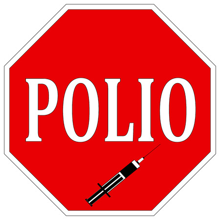 eradicate: Stop Polio  Health sign to help eradicate Poliomyelitis worldwide with vaccination Stock Photo