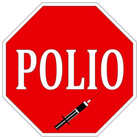 Stop Polio  Health sign to help eradicate Poliomyelitis worldwide with vaccination Stock Photo - 23328140