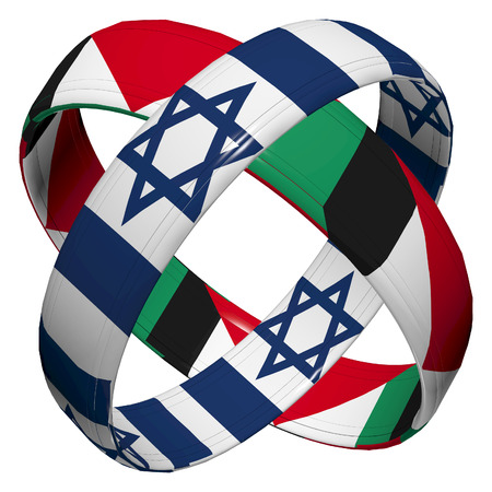 mediator: Israel and Palestine  Symbol and appeal for peaceful coexistence beweet the two parties Stock Photo