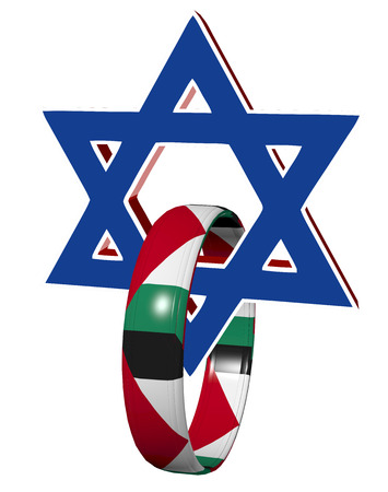 Israel and Palestine  Symbol and appeal for peaceful coexistence beweet the two parties photo