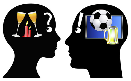 evenings: Candle Light Dinner or Football  Different leisure behavior of man and woman Stock Photo