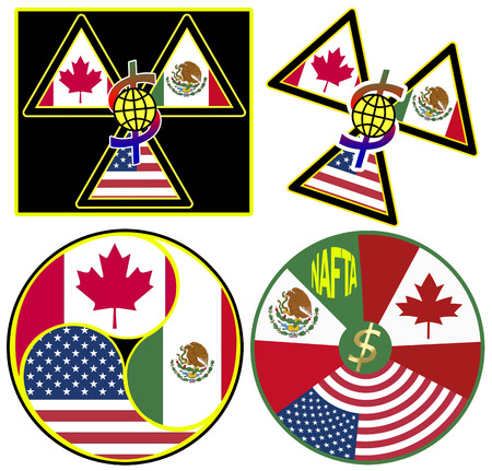 nafta: Set of NAFTA Symbols  North American Free Trade Agreement between Canada, Mexico, USA