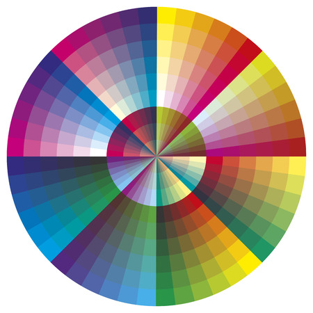 color palette: Vector color palette  Round chart with 216 colors for calibration, decoration or teaching purposes