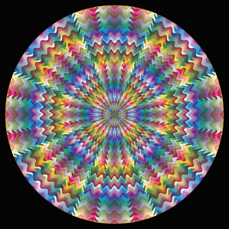 color theory: Vector Color Circle with 216 colors in motion for calibration, decoration or teaching purposes on black background
