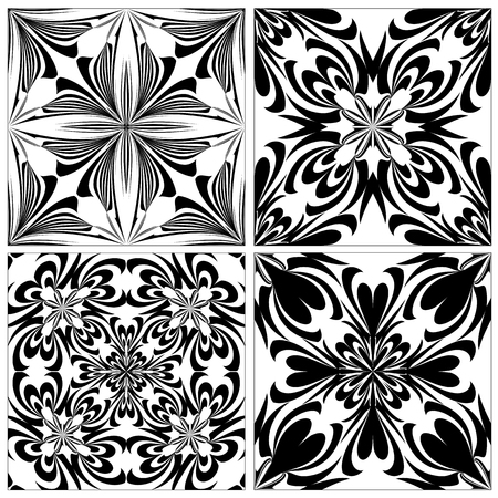 Set of baroque tiles with spiritual and magic motifs in black on white background, seamless in vector art Vector