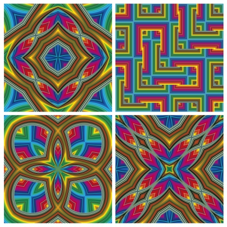 optic: Psychedelic Pattern Set  Seamless funky pop art texture with optic three-dimensional illusion  Illustration
