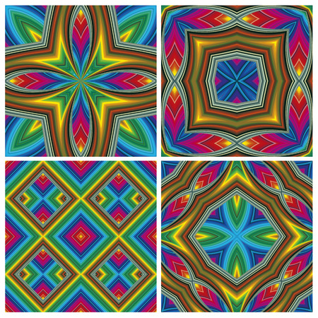 jazzy: Psychedelic Pattern Set  Seamless funky pop art texture with optic three-dimensional illusion  Illustration