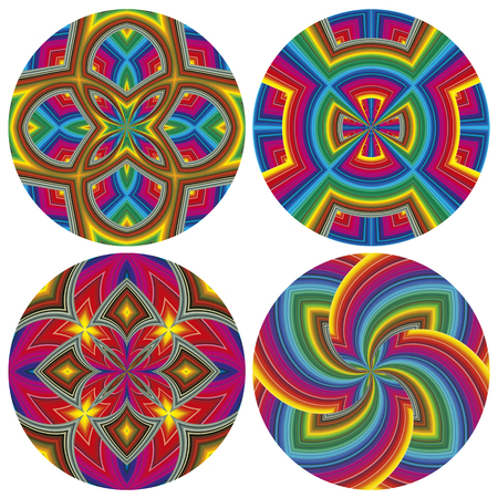 psycho: Round Psychedelic Pattern Set  Funky pop art texture with optic three-dimensional illusion  Illustration