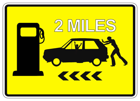 car gas: Desperate woman pushing car  Humorous Sign Post 2 Miles to the next Service Station for gas