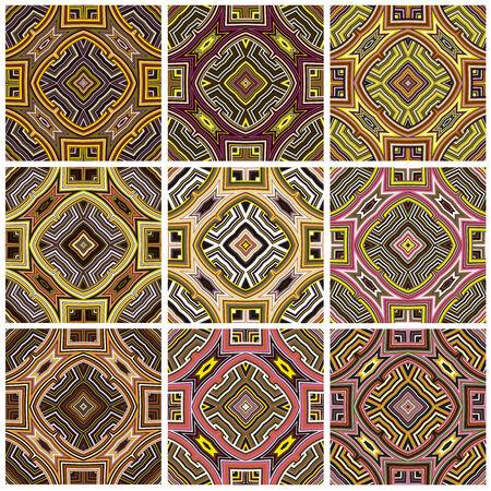 Patrón Zimbabwe modernos textil texturas sin fisuras desde el sur de África con motivos artísticos