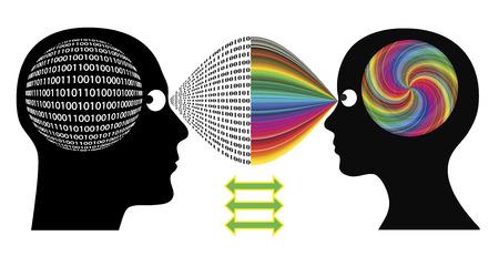 Perfect Match Man en vrouw elkaar perfect aanvullen in hun verschillende manieren van denken en het oplossen van problemen Stockfoto