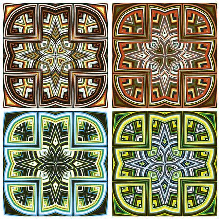 kenya: Design Art from Kenya Modern seamless vector pattern in vivid colors derived from East African spiritual symbols