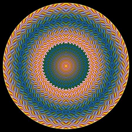 shui: Magic Eye. Moderna simbolo Feng Shui per il potere e la concentrazione spirituale, la perfetta combinazione tra colori freddi e caldi radiante profonda armonia