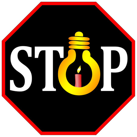not permitted: Stop the use of light bulbs.  Stock Photo