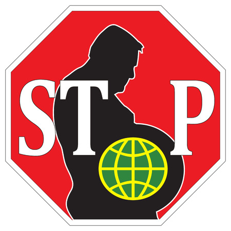 gained: Stop obesity worldwide  On third of the global population is supposed to have gained to much weight Stock Photo