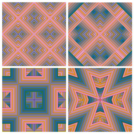 artdeco: Colorful Art Deco pattern set, seamless in vector art  Ornament for print, textile, wallpaper, vintage decor  Illustration