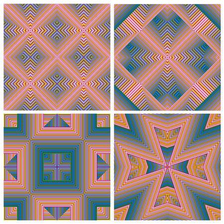 artdeco: Conjunto colorido del patr�n de Art Deco, sin fisuras en el arte del vector del ornamento para la impresi�n, textil, papel pintado, del vintage
