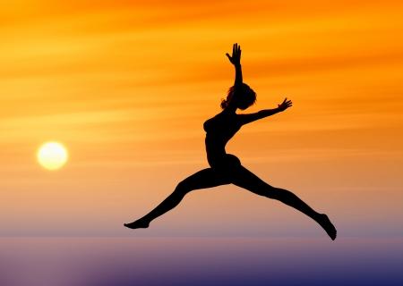 Ik geloof dat ik kan Sexy jonge vrouw vliegen als symbool voor moed, zelfvertrouwen en vrijheid