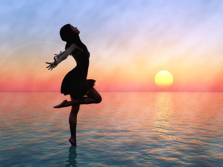 Sexy posing woman in the rising sun Фото со стока