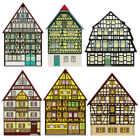 timbered: Farm houses in Old Europe Set illustrations