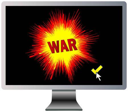 cyberwarfare: War text in a computer monitor