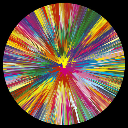 Explosion de vecteur de couleur sur fond noir Symbole de la créativité, la spontanéité et la puissance en plus d'une centaine de couleurs lumineuses et vives différentes