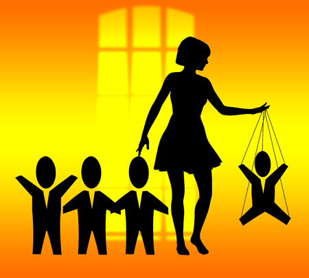 harassing: woman treating men like marionettes, concept of humiliation and domination Stock Photo