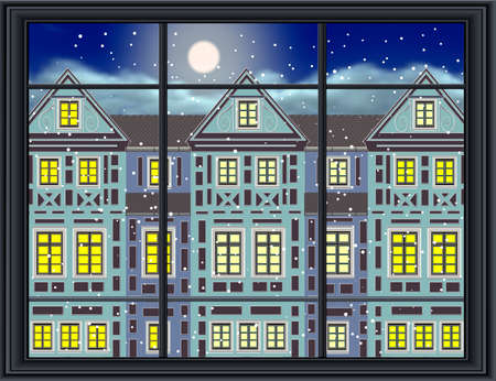 snug: nostalgic view of a historic townhouse at night