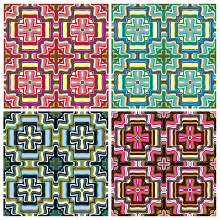 Mediterranean Style Tile Pattern  Modern texture in vibrant colors for interior design and decoration, seamless