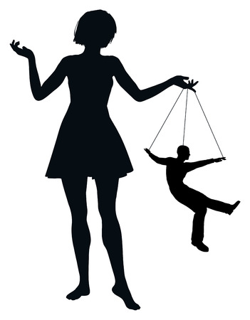 humiliation: Marionette Man  Woman treating man like marionette, concept of humiliation and domination