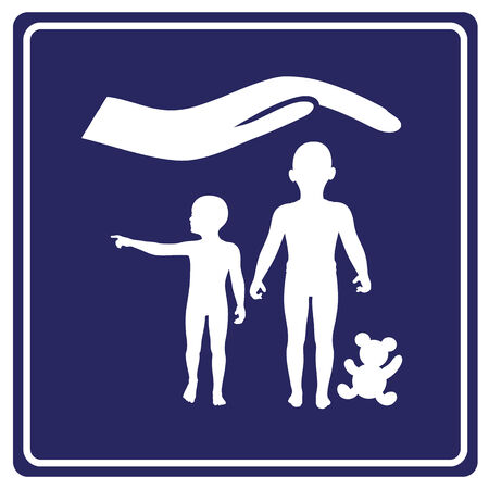 asylum: Child protection  Concept sign for propagating special services and care for kids