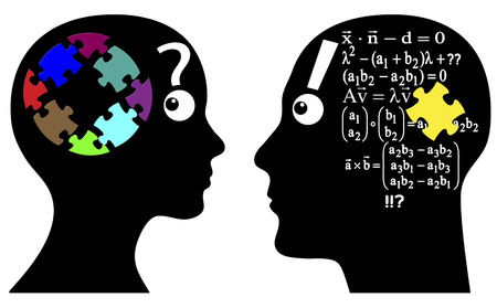 calculations: Intuition or Calculation  Man and woman solve problems differently, by instinct or with analytical formula Stock Photo