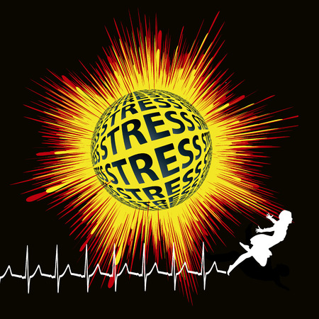 sudden death: Stress kills you  Stress can lead to sudden death, with angel and electrocardiogram as symbol  Stock Photo