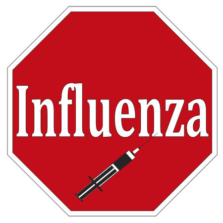 flu shot: Stop Influenza  Concept sign for National Immunisation Program to prevent spreading influenza