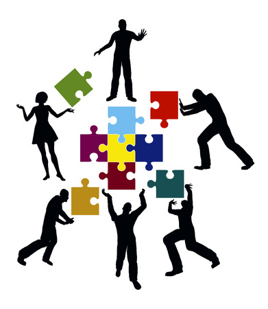 team working together: Power Team  Concept for successful teamwork and collaboration