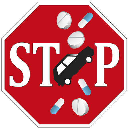 Stop Driving with Drugs  Sign and concept not to drive any vehicle under the influence of medicine photo