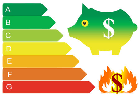 either: Energy Efficiency saves Money  Energy consumer can either save or burn money Stock Photo