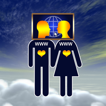 cloud nine: Social Media Love  Couple on cloud nine fallen in love on the Internet