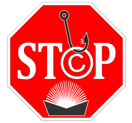 stop piracy: Copyright Infringement Print Media  Symbol and warning sign for plagiarism